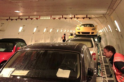 Loading exotic cars at ORD